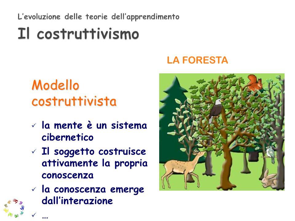 LA FORESTA Modello costruttivista la mente è un sistema cibernetico Il soggetto costruisce attivamente la propria conoscenza la conoscenza emerge dall