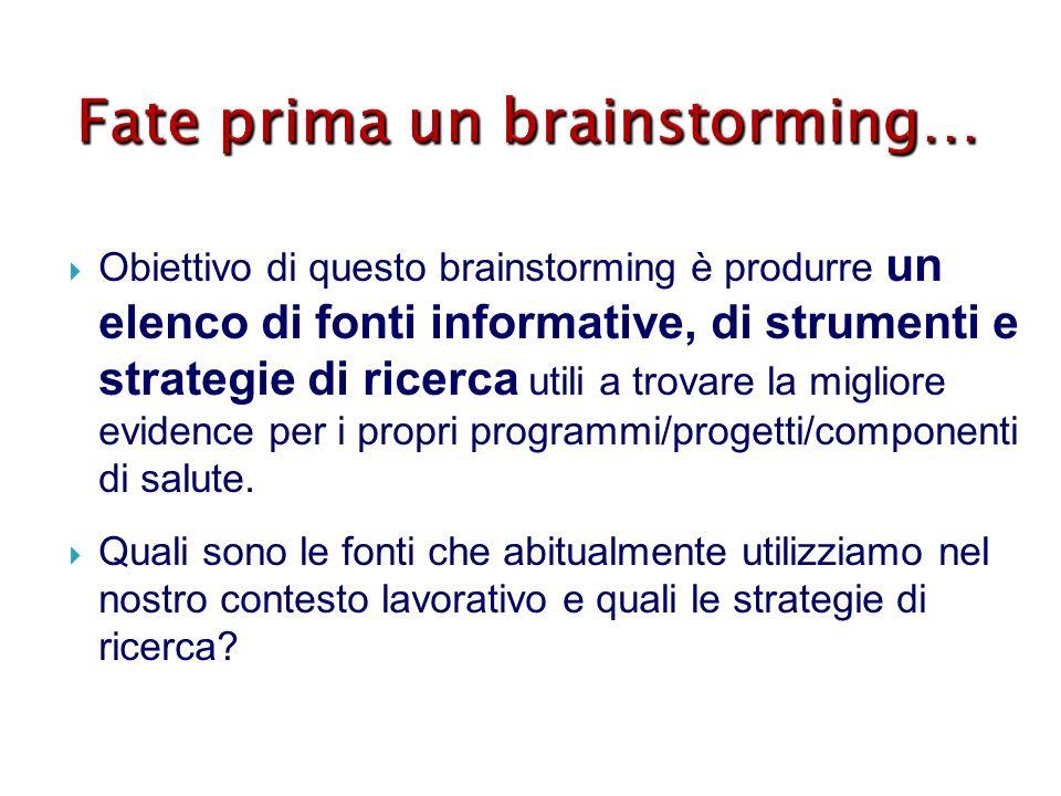 Fate prima un brainstorming… Obiettivo di questo brainstorming è produrre un elenco di fonti informative, di strumenti e strategie di ricerca utili a