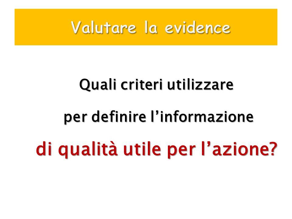 Quali criteri utilizzare per definire linformazione per definire linformazione di qualità utile per lazione?