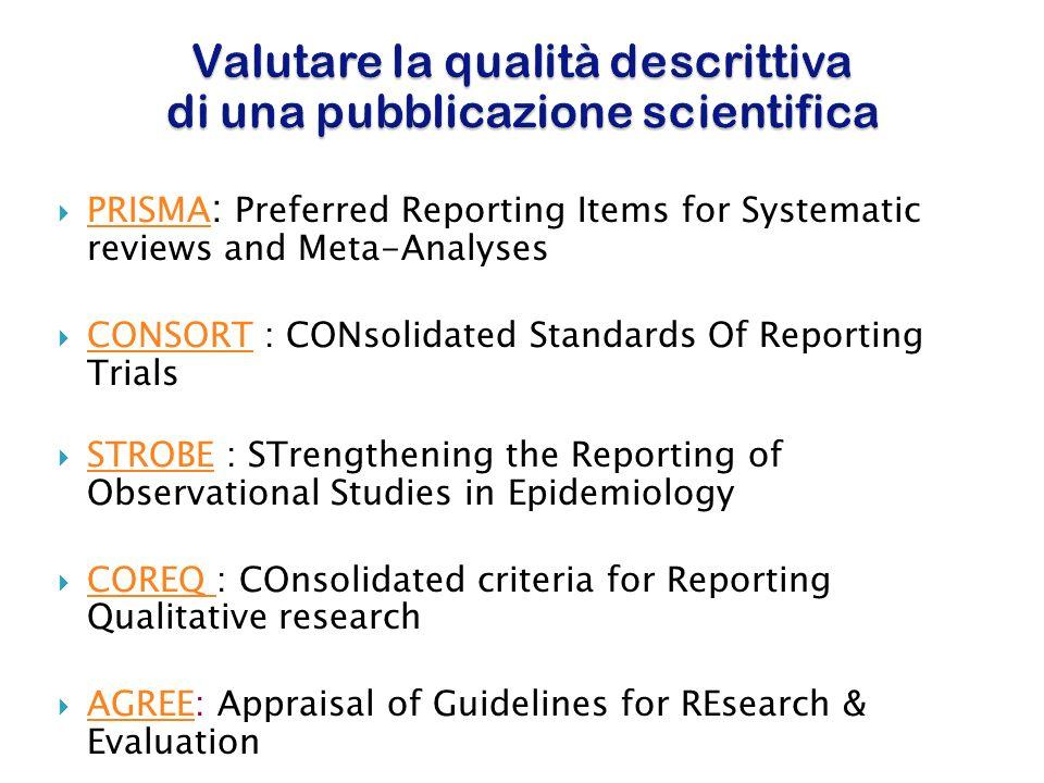 Valutare la qualità descrittiva di una pubblicazione scientifica PRISMA PRISMA : Preferred Reporting Items for Systematic reviews and Meta-Analyses PR