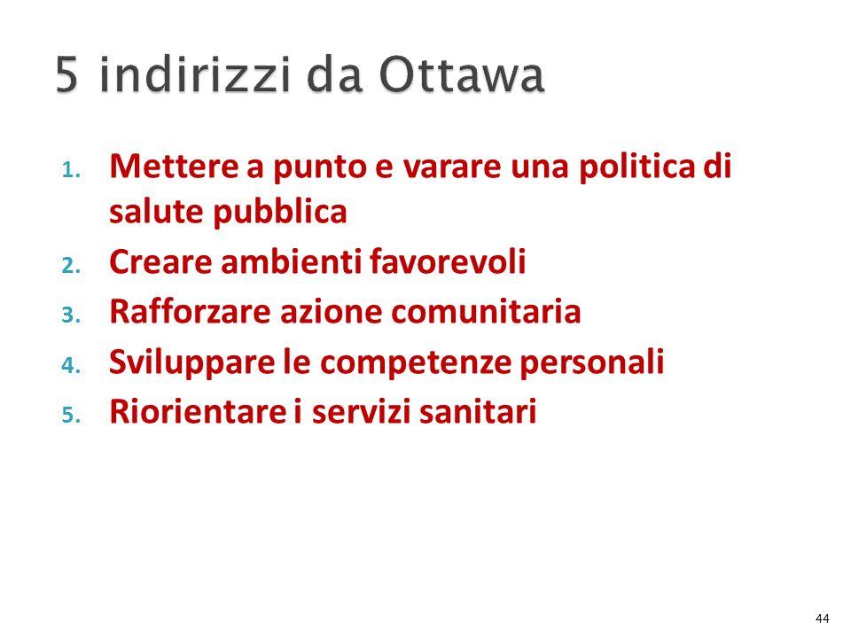 1. Mettere a punto e varare una politica di salute pubblica 2. Creare ambienti favorevoli 3. Rafforzare azione comunitaria 4. Sviluppare le competenze