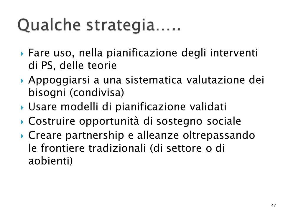 Fare uso, nella pianificazione degli interventi di PS, delle teorie Appoggiarsi a una sistematica valutazione dei bisogni (condivisa) Usare modelli di
