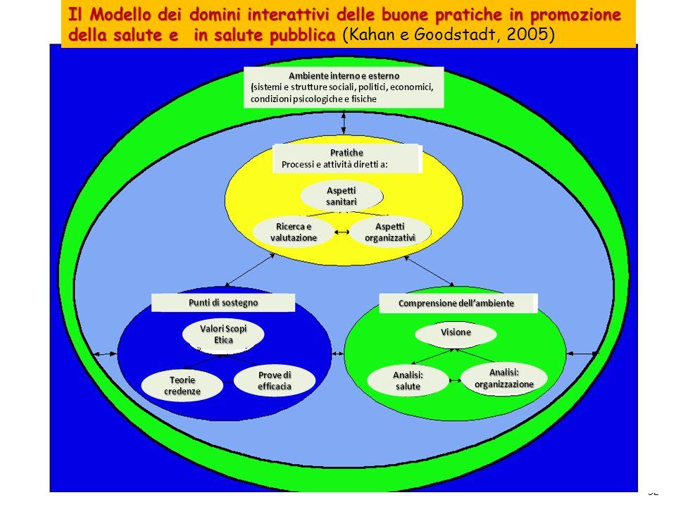 52 Il Modello dei domini interattivi delle buone pratiche in promozione della salute e in salute pubblica Il Modello dei domini interattivi delle buon