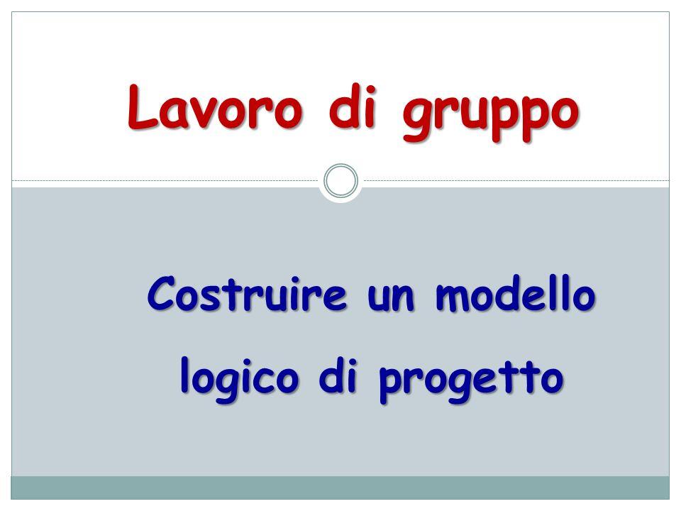 Costruire un modello logico di progetto Lavoro di gruppo