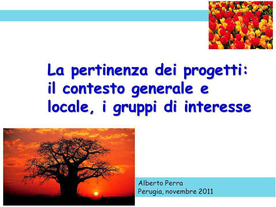 La pertinenza dei progetti: il contesto generale e locale, i gruppi di interesse Alberto Perra Perugia, novembre 2011