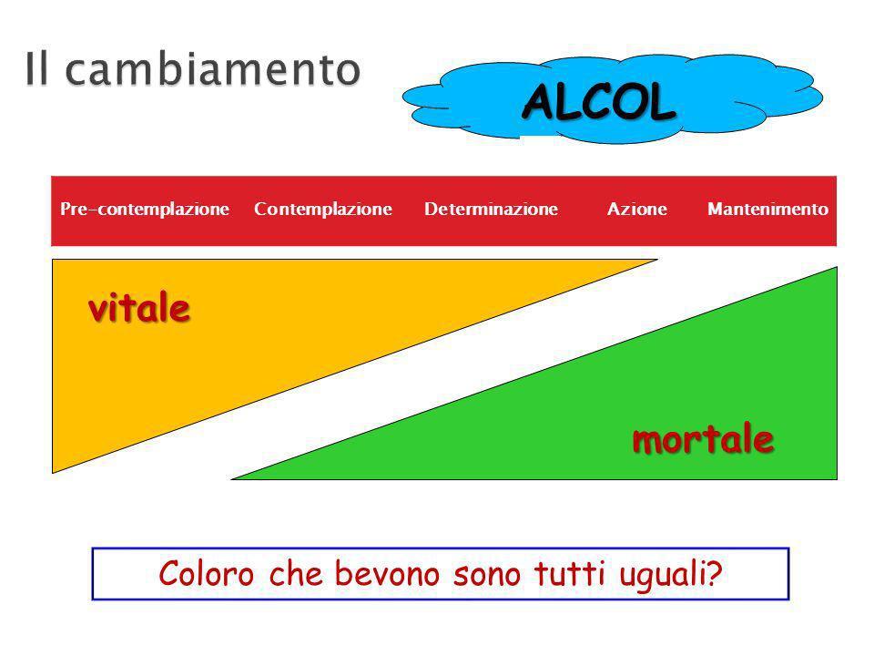 Pre-contemplazioneContemplazioneDeterminazioneAzioneMantenimento ALCOL mortale vitale Coloro che bevono sono tutti uguali?