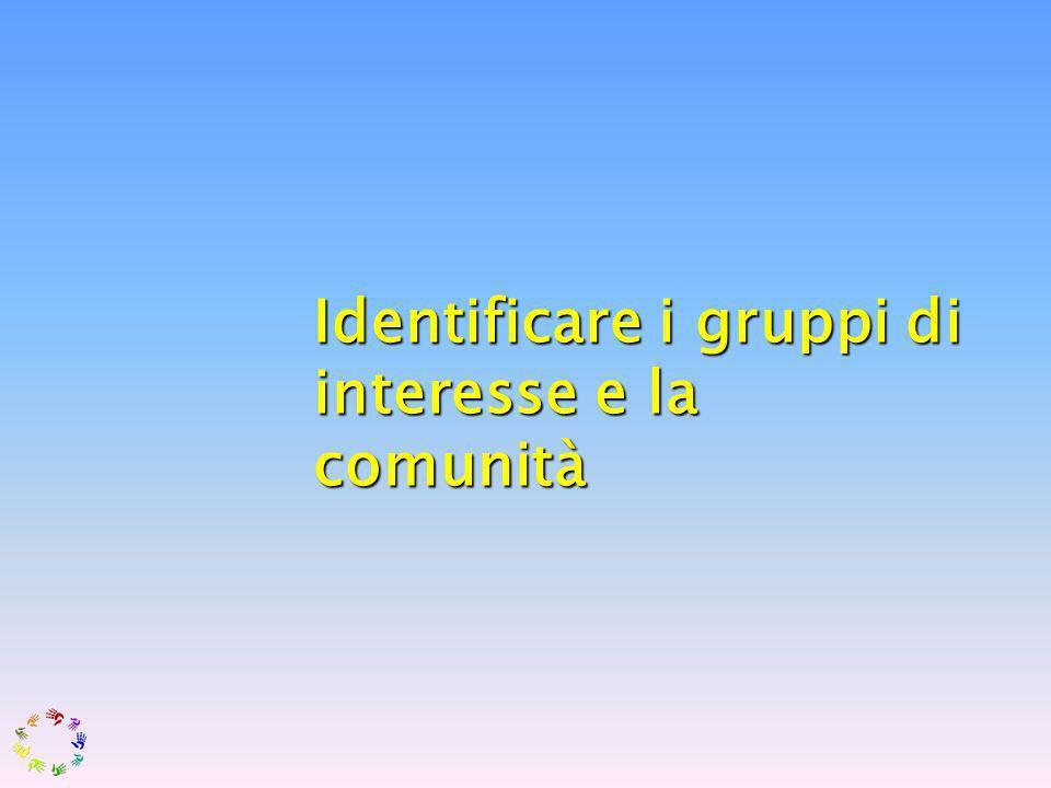 Comprendere lambiente, i sistemi e lazione umana Identificare i gruppi di interesse e la comunità