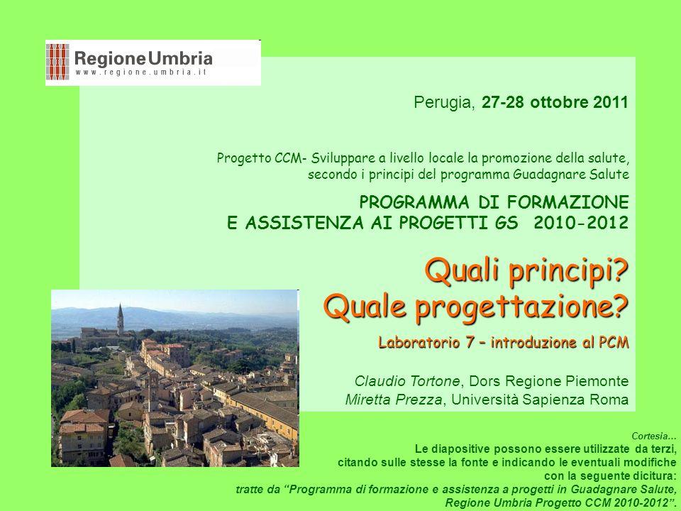 Perugia, 27-28 ottobre 2011 Progetto CCM - Sviluppare a livello locale la promozione della salute, secondo i principi del programma Guadagnare Salute PROGRAMMA DI FORMAZIONE E ASSISTENZA AI PROGETTI GS 2010-2012 Quali principi.