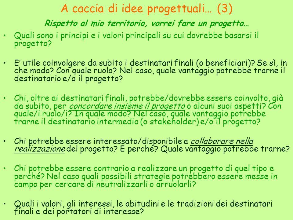A caccia di idee progettuali… (3) Rispetto al mio territorio, vorrei fare un progetto… Quali sono i principi e i valori principali su cui dovrebbe basarsi il progetto.