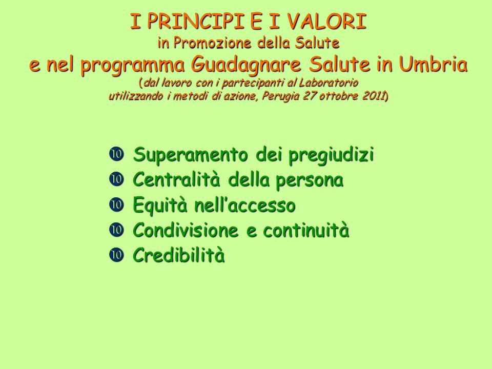 I PRINCIPI E I VALORI in Promozione della Salute e nel programma Guadagnare Salute in Umbria (dal lavoro con i partecipanti al Laboratorio utilizzando