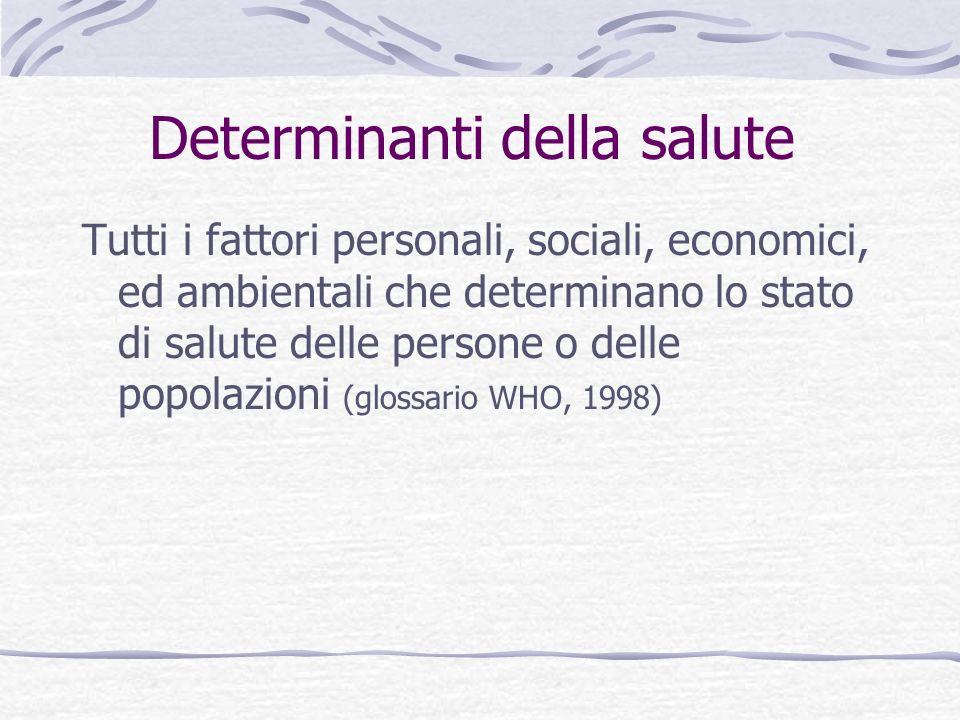 Determinanti della salute Tutti i fattori personali, sociali, economici, ed ambientali che determinano lo stato di salute delle persone o delle popolazioni (glossario WHO, 1998)