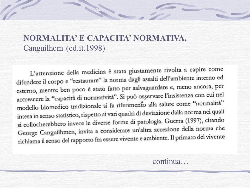 NORMALITA E CAPACITA NORMATIVA, Canguilhem (ed.it.1998)