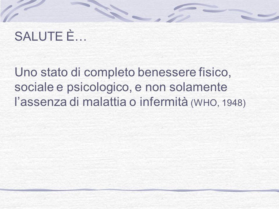 SALUTE È… Uno stato di completo benessere fisico, sociale e psicologico, e non solamente lassenza di malattia o infermità (WHO, 1948)