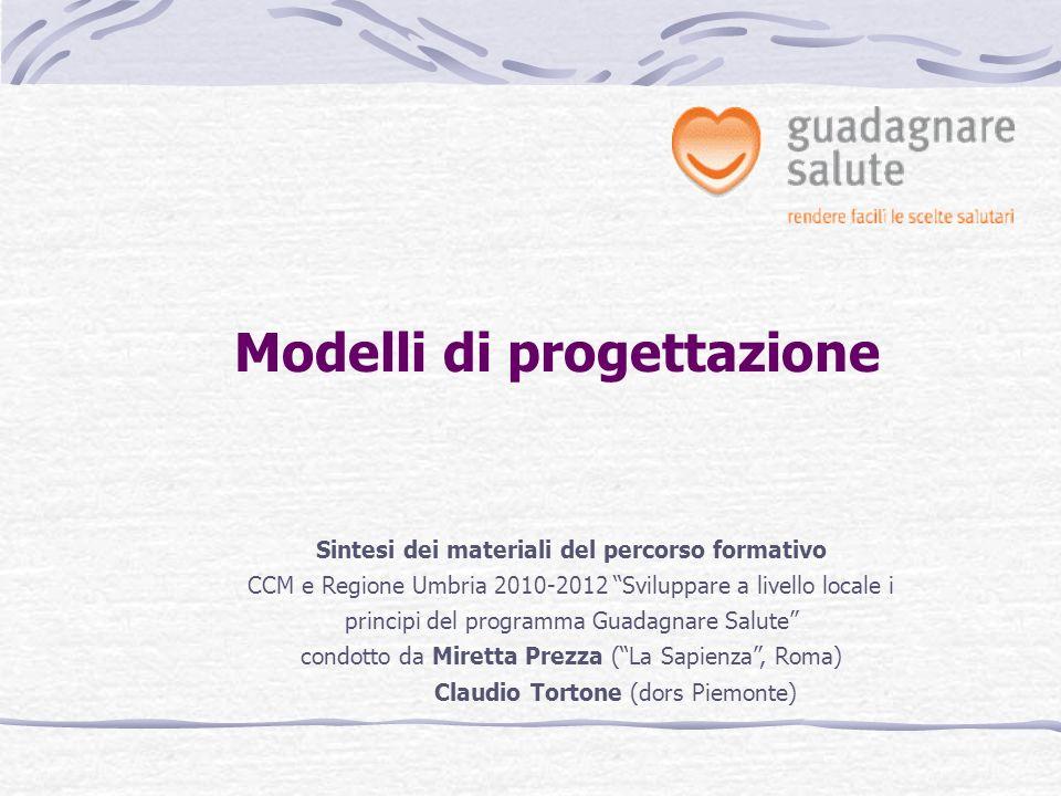 Modelli di progettazione Sintesi dei materiali del percorso formativo CCM e Regione Umbria 2010-2012 Sviluppare a livello locale i principi del progra