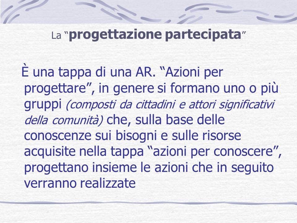La progettazione partecipata È una tappa di una AR. Azioni per progettare, in genere si formano uno o più gruppi (composti da cittadini e attori signi