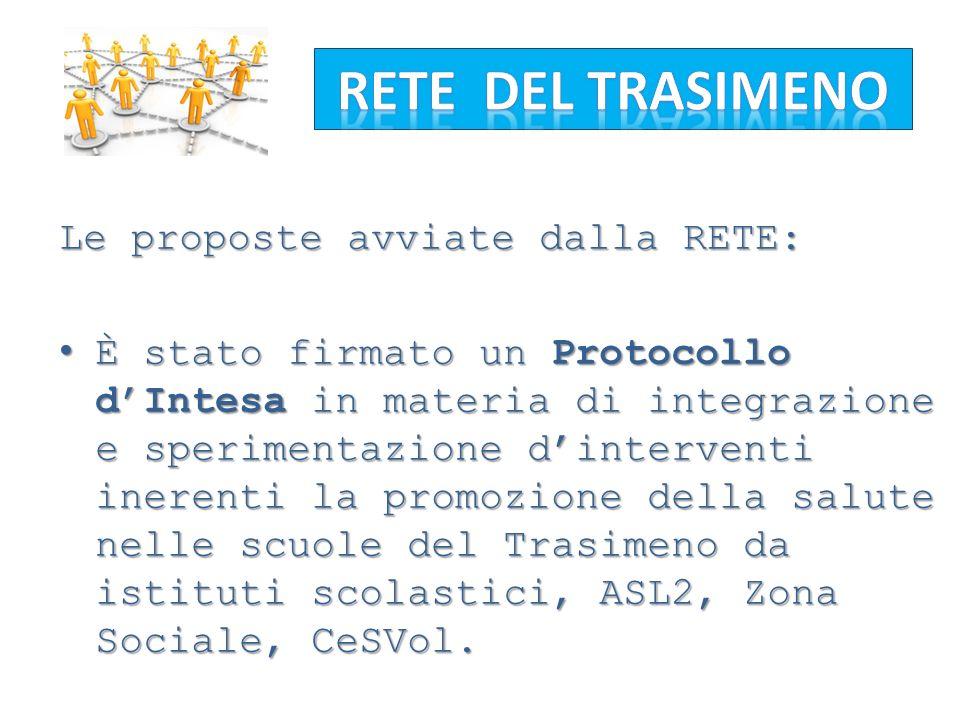 Le proposte avviate dalla RETE: È stato firmato un Protocollo dIntesa in materia di integrazione e sperimentazione dinterventi inerenti la promozione