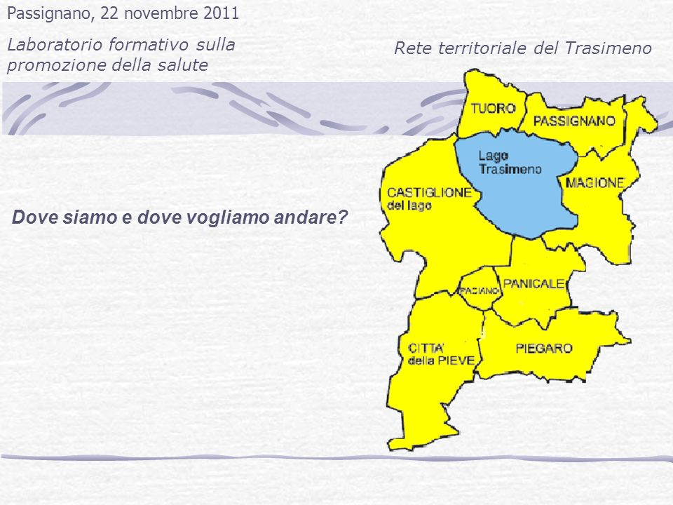 Dove siamo e dove vogliamo andare? Passignano, 22 novembre 2011 Laboratorio formativo sulla promozione della salute Rete territoriale del Trasimeno