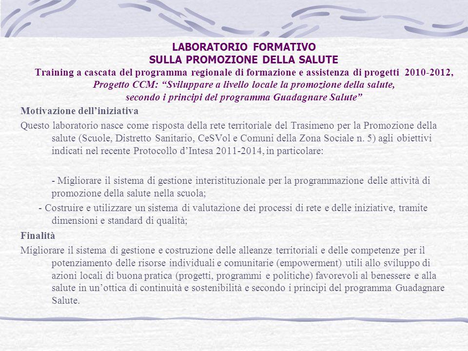 LABORATORIO FORMATIVO SULLA PROMOZIONE DELLA SALUTE Training a cascata del programma regionale di formazione e assistenza di progetti 2010-2012, Proge