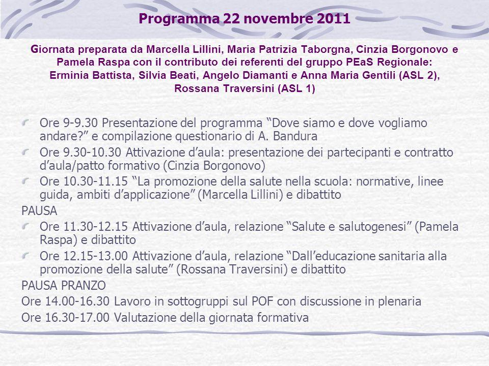 Programma 22 novembre 2011 G iornata preparata da Marcella Lillini, Maria Patrizia Taborgna, Cinzia Borgonovo e Pamela Raspa con il contributo dei ref