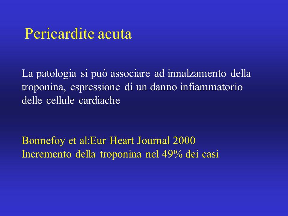 Pericardite acuta La patologia si può associare ad innalzamento della troponina, espressione di un danno infiammatorio delle cellule cardiache Bonnefo