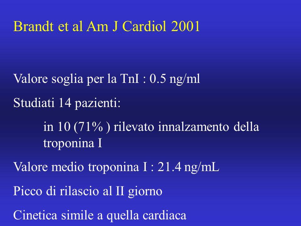 Brandt et al Am J Cardiol 2001 Valore soglia per la TnI : 0.5 ng/ml Studiati 14 pazienti: in 10 (71% ) rilevato innalzamento della troponina I Valore