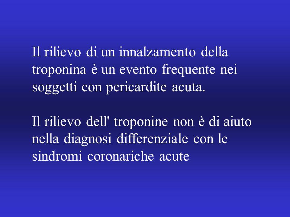 Il rilievo di un innalzamento della troponina è un evento frequente nei soggetti con pericardite acuta. Il rilievo dell' troponine non è di aiuto nell