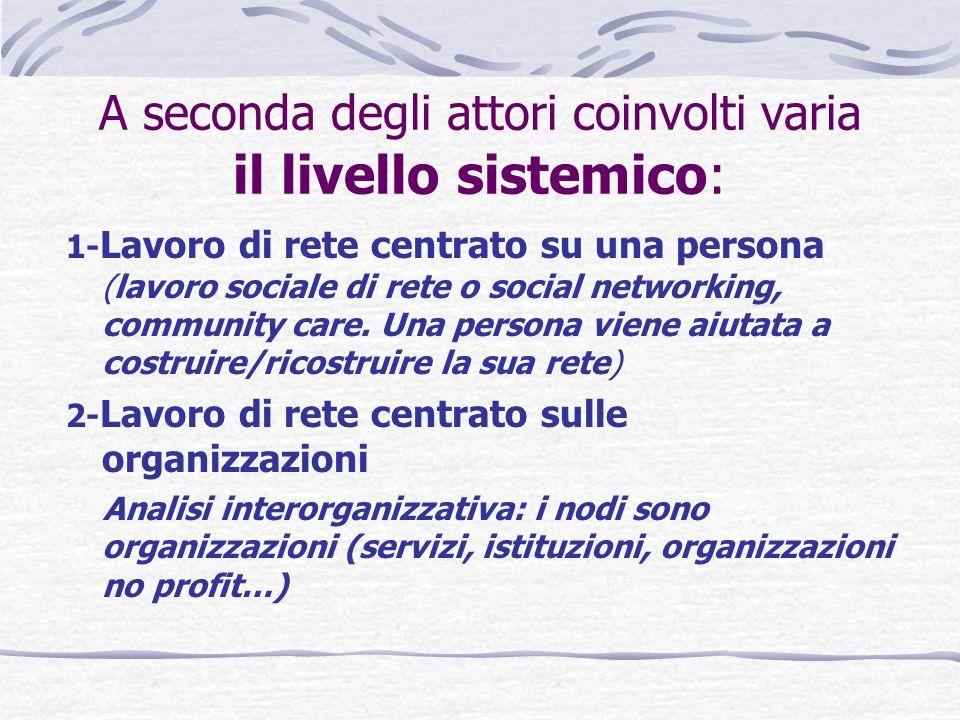 A seconda degli attori coinvolti varia il livello sistemico: 1- Lavoro di rete centrato su una persona (lavoro sociale di rete o social networking, community care.