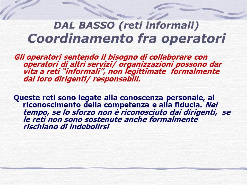 Gli operatori sentendo il bisogno di collaborare con operatori di altri servizi/ organizzazioni possono dar vita a reti informali, non legittimate formalmente dai loro dirigenti/ responsabili.
