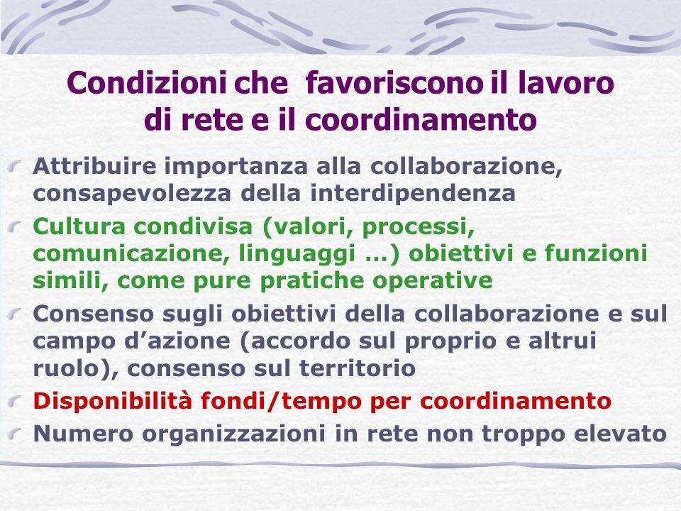 Condizioni che favoriscono il lavoro di rete e il coordinamento Attribuire importanza alla collaborazione, consapevolezza della interdipendenza Cultur
