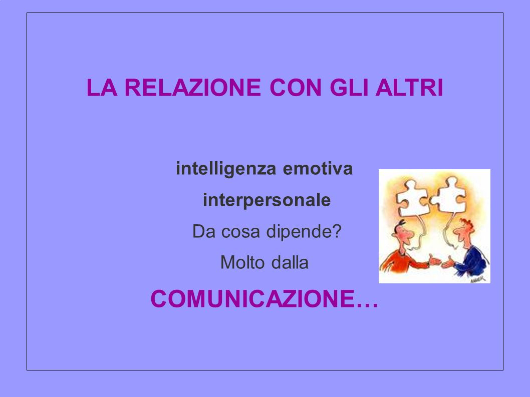 LA RELAZIONE CON GLI ALTRI intelligenza emotiva interpersonale Da cosa dipende? Molto dalla COMUNICAZIONE…