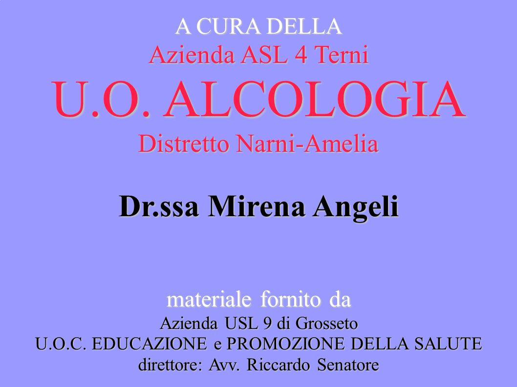A CURA DELLA Azienda ASL 4 Terni U.O. ALCOLOGIA Distretto Narni-Amelia Dr.ssa Mirena Angeli materiale fornito da Azienda USL 9 di Grosseto U.O.C. EDUC