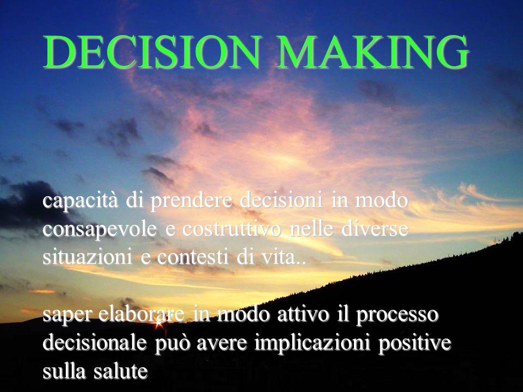 DECISION MAKING capacità di prendere decisioni in modo consapevole e costruttivo nelle diverse situazioni e contesti di vita.. saper elaborare in modo