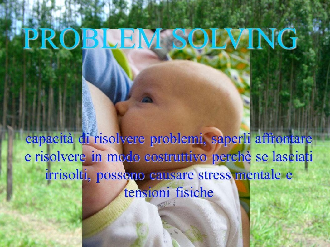 PROBLEM SOLVING capacità di risolvere problemi, saperli affrontare e risolvere in modo costruttivo perchè se lasciati irrisolti, possono causare stress mentale e tensioni fisiche