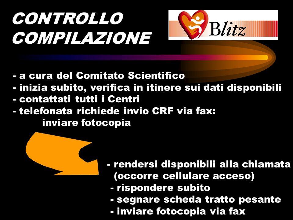 - a cura del Comitato Scientifico - inizia subito, verifica in itinere sui dati disponibili - contattati tutti i Centri - telefonata richiede invio CR