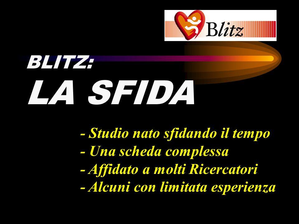BLITZ: LA SFIDA - Studio nato sfidando il tempo - Una scheda complessa - Affidato a molti Ricercatori - Alcuni con limitata esperienza
