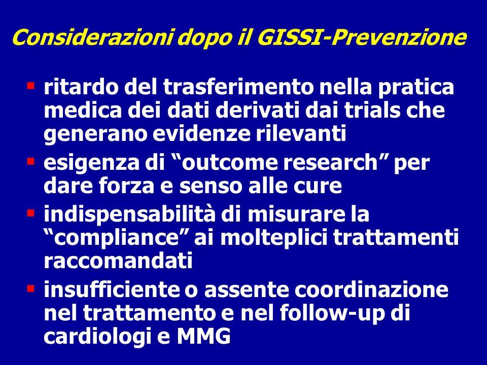 Considerazioni dopo il GISSI-Prevenzione ritardo del trasferimento nella pratica medica dei dati derivati dai trials che generano evidenze rilevanti e