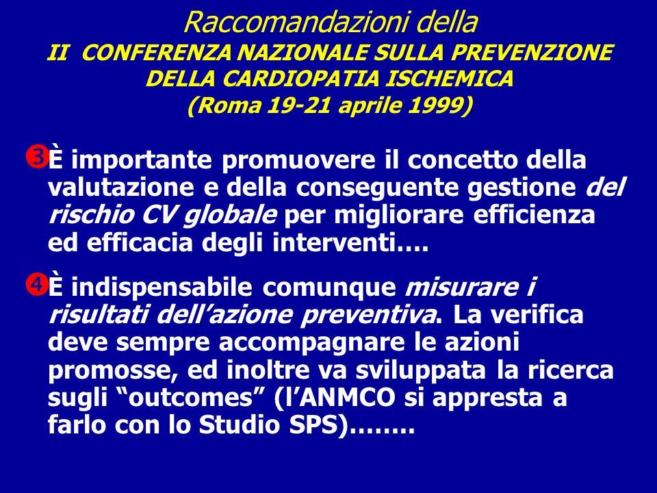 Raccomandazioni della II CONFERENZA NAZIONALE SULLA PREVENZIONE DELLA CARDIOPATIA ISCHEMICA (Roma 19-21 aprile 1999) È importante promuovere il concet