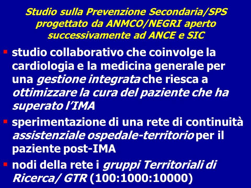 Studio sulla Prevenzione Secondaria/SPS progettato da ANMCO/NEGRI aperto successivamente ad ANCE e SIC studio collaborativo che coinvolge la cardiolog