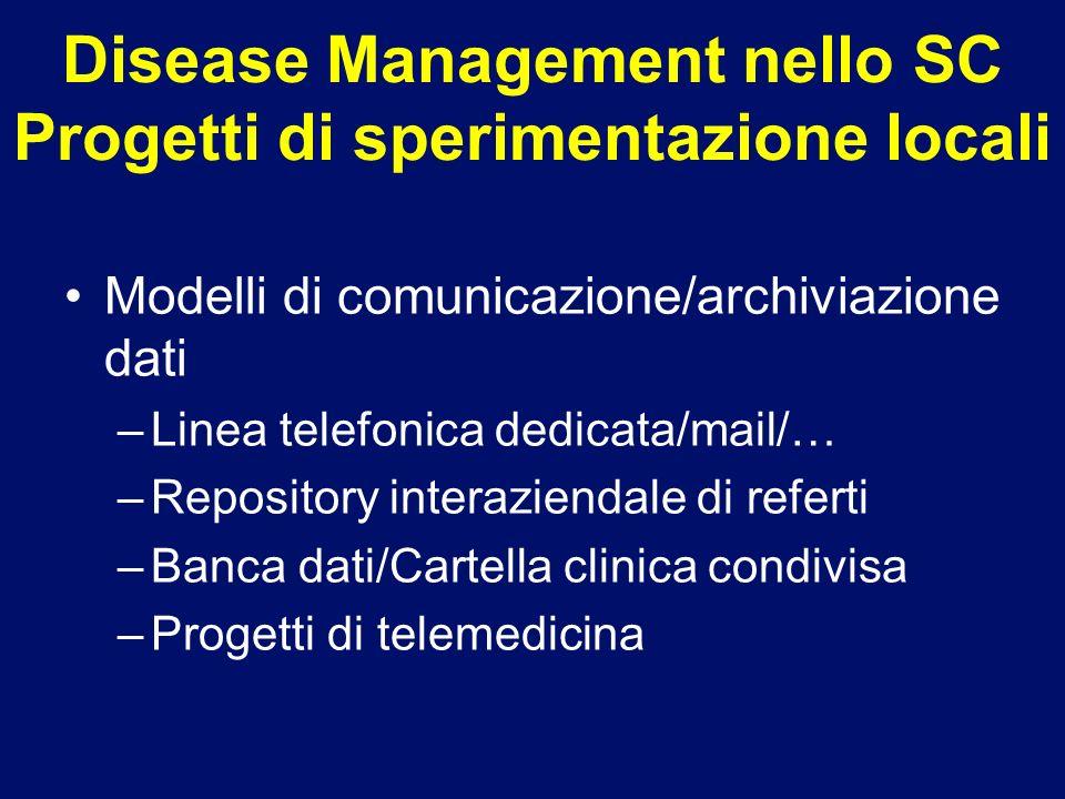 Disease Management nello SC Progetti di sperimentazione locali Modelli di comunicazione/archiviazione dati –Linea telefonica dedicata/mail/… –Reposito