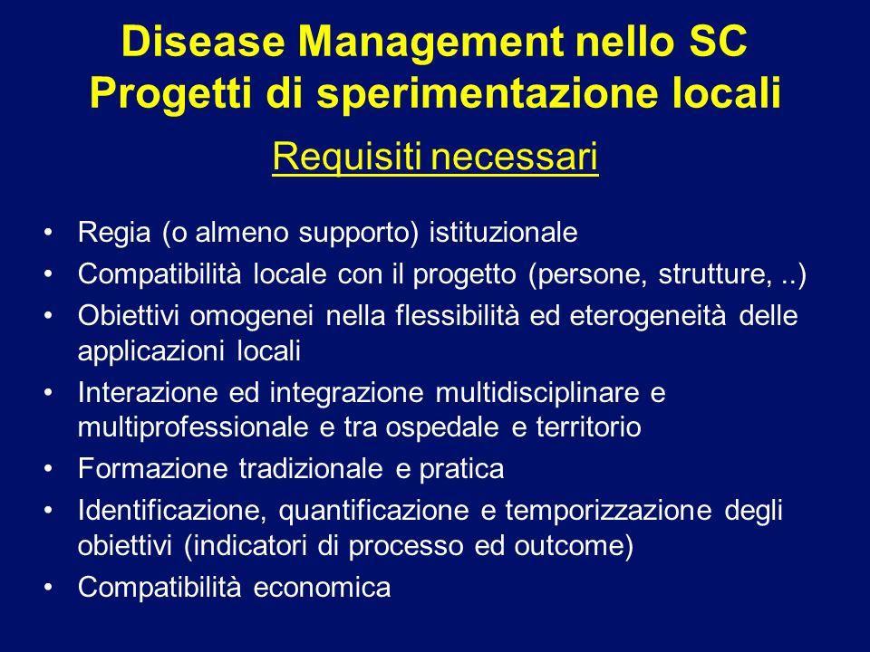 Regia (o almeno supporto) istituzionale Compatibilità locale con il progetto (persone, strutture,..) Obiettivi omogenei nella flessibilità ed eterogen
