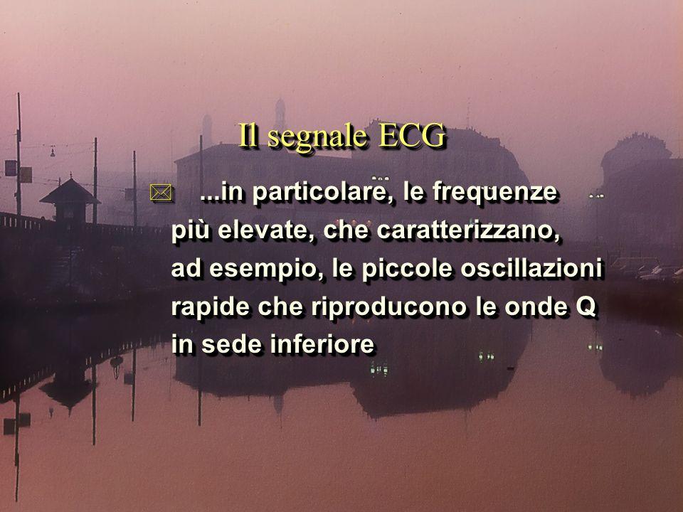 Il segnale ECG *...in particolare, le frequenze più elevate, che caratterizzano, più elevate, che caratterizzano, ad esempio, le piccole oscillazioni ad esempio, le piccole oscillazioni rapide che riproducono le onde Q rapide che riproducono le onde Q in sede inferiore in sede inferiore *...in particolare, le frequenze più elevate, che caratterizzano, più elevate, che caratterizzano, ad esempio, le piccole oscillazioni ad esempio, le piccole oscillazioni rapide che riproducono le onde Q rapide che riproducono le onde Q in sede inferiore in sede inferiore