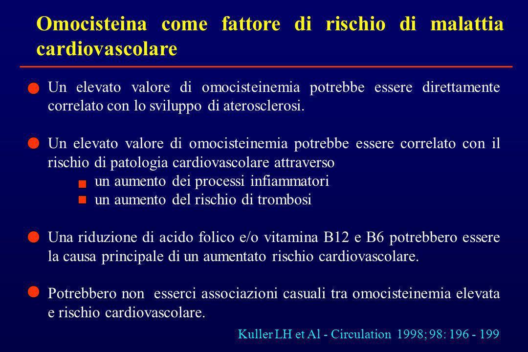 Omocisteina come fattore di rischio di malattia cardiovascolare Un elevato valore di omocisteinemia potrebbe essere direttamente correlato con lo svil