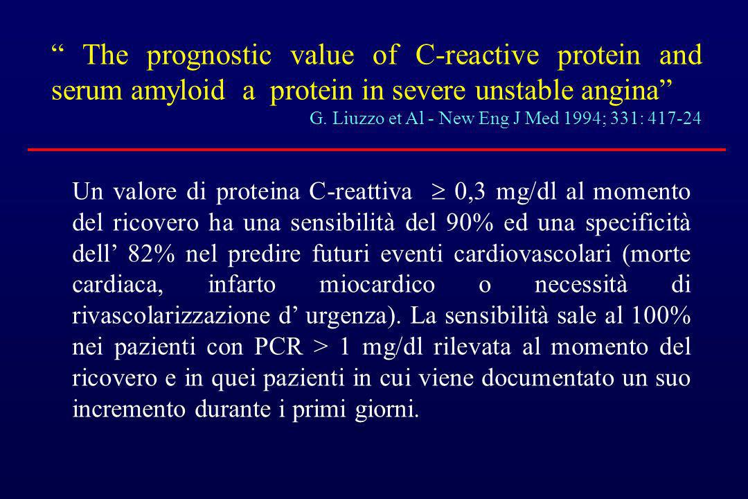 The prognostic value of C-reactive protein and serum amyloid a protein in severe unstable angina G. Liuzzo et Al - New Eng J Med 1994; 331: 417-24 Un