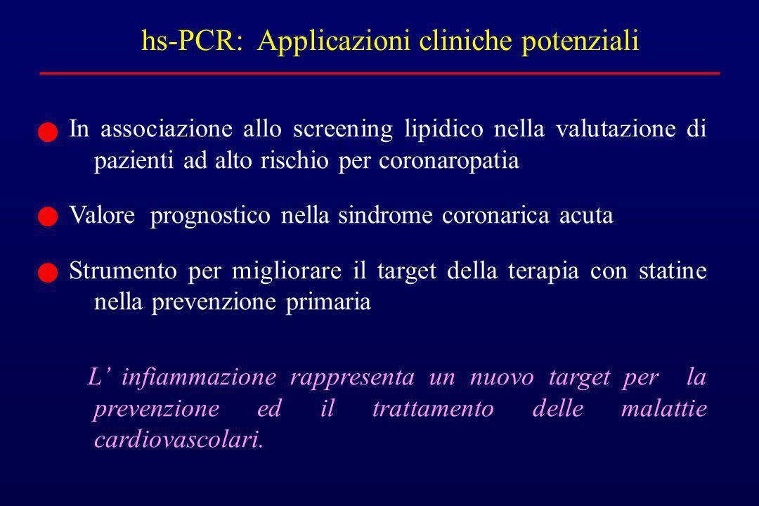 hs-PCR: Applicazioni cliniche potenziali In associazione allo screening lipidico nella valutazione di pazienti ad alto rischio per coronaropatia Valor