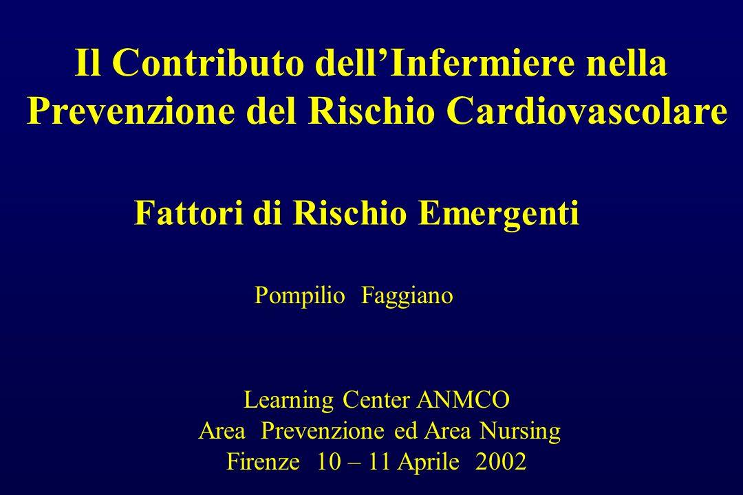 Il Contributo dellInfermiere nella Prevenzione del Rischio Cardiovascolare Fattori di Rischio Emergenti Pompilio Faggiano Learning Center ANMCO Area P