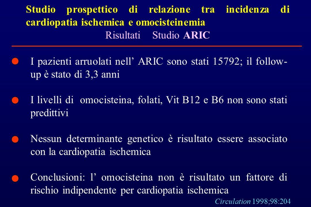 Studio prospettico di relazione tra incidenza di cardiopatia ischemica e omocisteinemia Risultati Studio ARIC I pazienti arruolati nell ARIC sono stat
