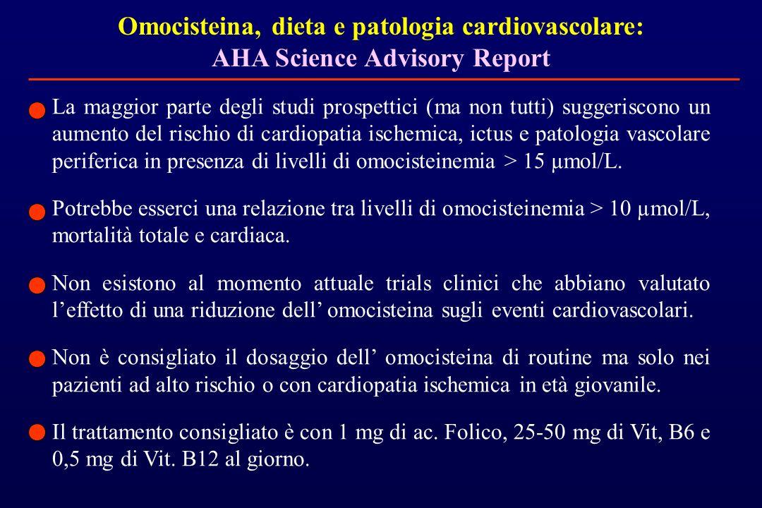 Omocisteina, dieta e patologia cardiovascolare: AHA Science Advisory Report La maggior parte degli studi prospettici (ma non tutti) suggeriscono un au