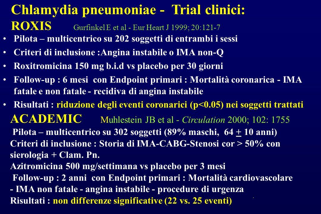 Chlamydia pneumoniae - Trial clinici: ROXIS Gurfinkel E et al - Eur Heart J 1999; 20:121-7 Pilota – multicentrico su 202 soggetti di entrambi i sessi