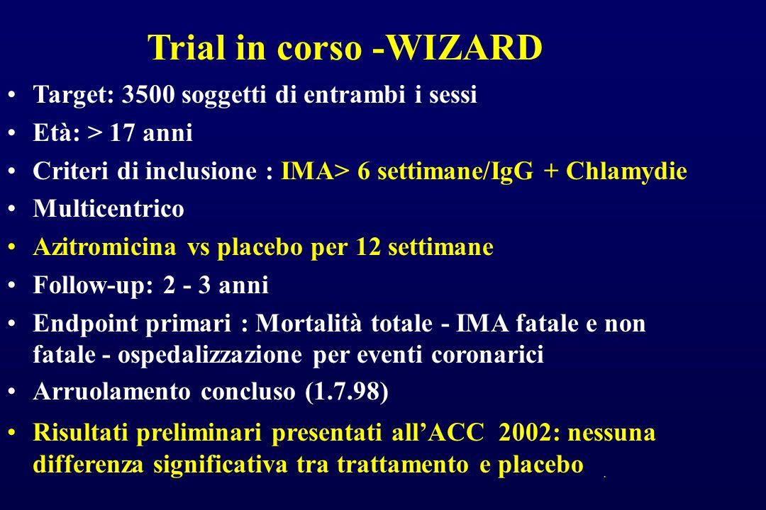 Trial in corso -WIZARD Target: 3500 soggetti di entrambi i sessi Età: > 17 anni Criteri di inclusione : IMA> 6 settimane/IgG + Chlamydie Multicentrico