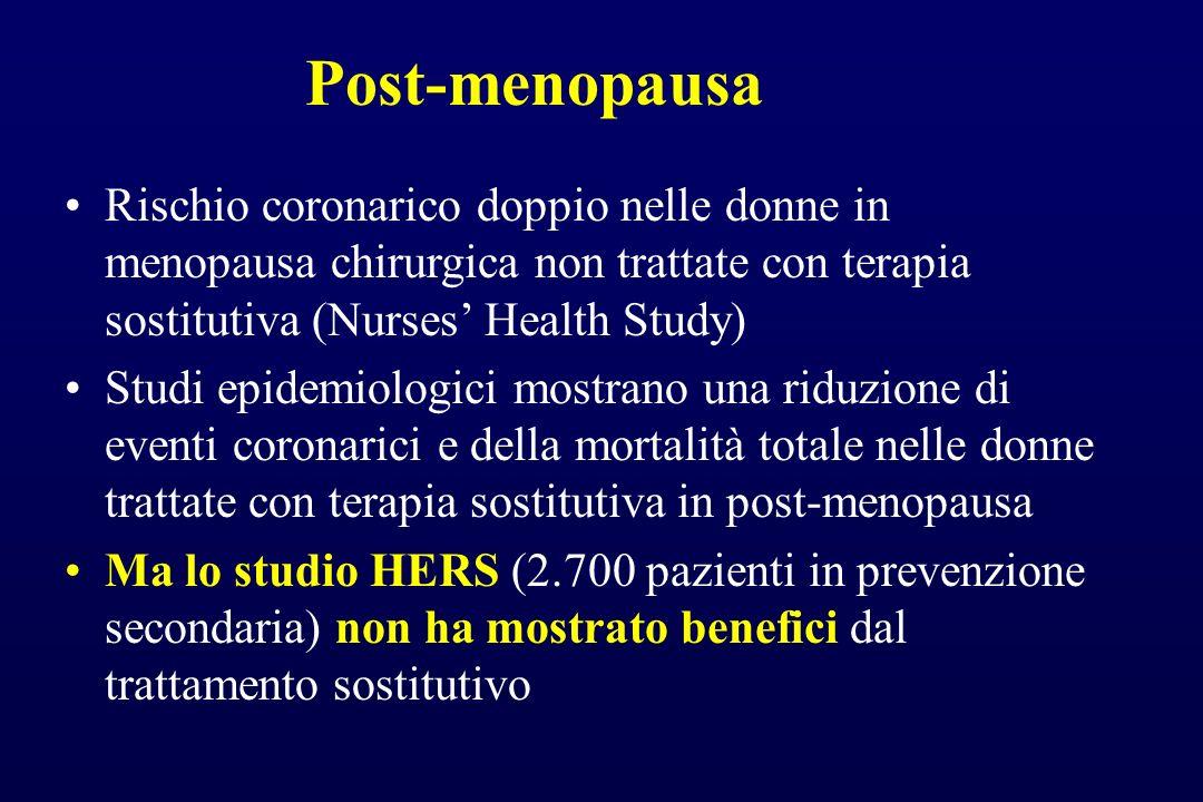 Post-menopausa Rischio coronarico doppio nelle donne in menopausa chirurgica non trattate con terapia sostitutiva (Nurses Health Study) Studi epidemio